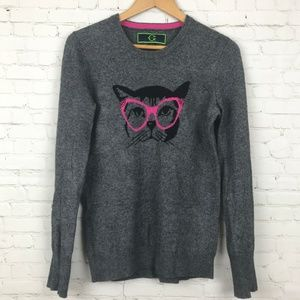 C. Wonder Women Sweater Gray Cat Glasses Size M